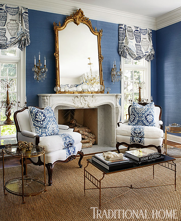 Traditional Living Space with blue wall covering