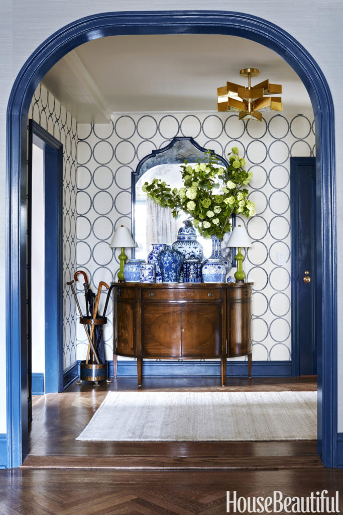 Entryway with Bold Blue color www.pattersondecoratinggroup.com/blog