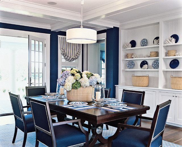 Blue Rooms With White Beach Style Dining Room Pattersondecoratinggroup Blog
