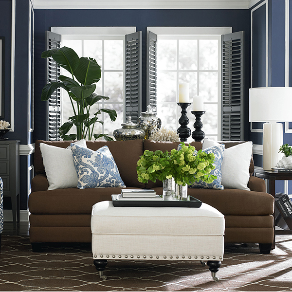 Favorite blue rooms with bold color part 1 patterson - Black brown and white living room ...