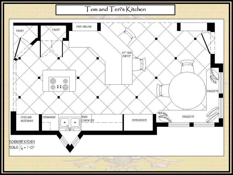 Large kitchen floor plans wood floors Large floor plans