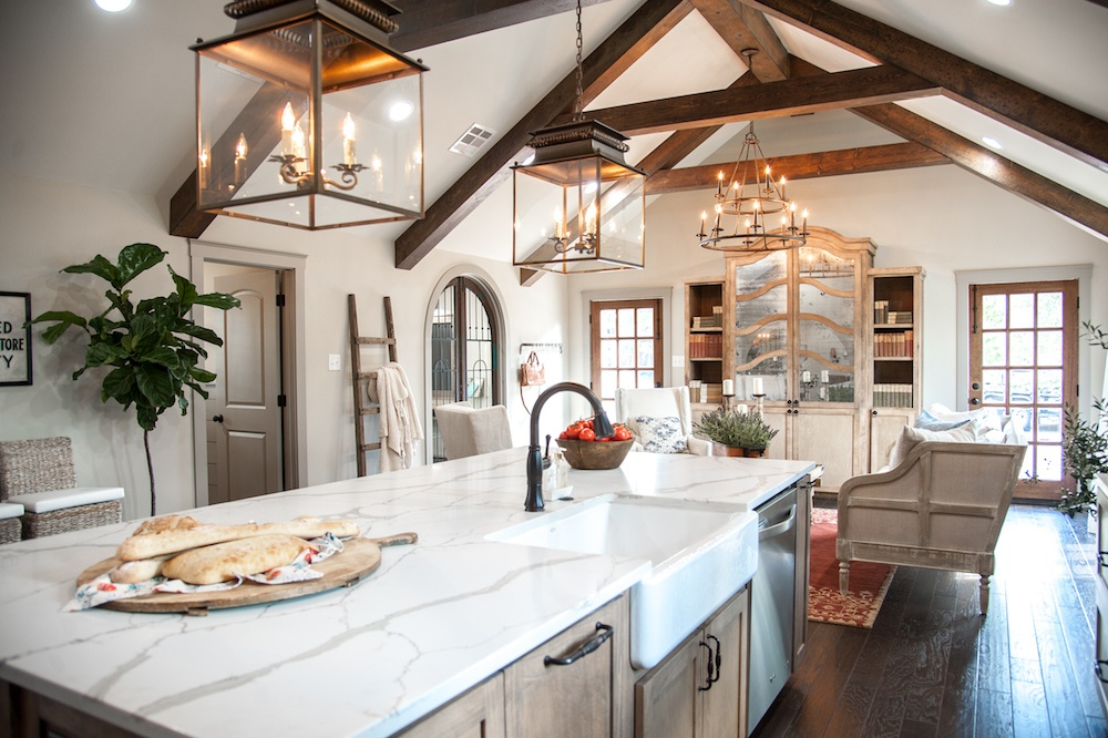 This Beautiful Fixer Upper Kitchen Features A Mive Island With Gray And White Quartz Countertops Along